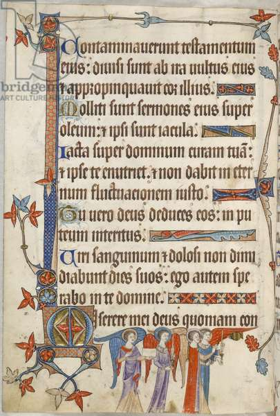 Add. 42130, f.102v, Psalm 55, angels in procession, from 'Luttrell Psalter', c.1325-35 (vellum)