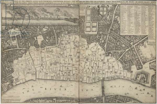 A map showing the ruins of the city of London, caused by the great fire of London, in 1666.