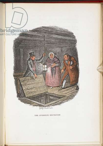 The Evidence Destroyed, from The Adventures of Oliver Twist... With twenty-four illustrations by Cruikshank, 1911 (colour litho)