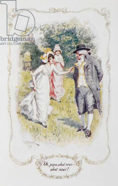 """""""Oh papa, what news - what news ?"""", illustration to 'Pride and Prejudice' by Jane Austen, 1907 (colour litho)"""