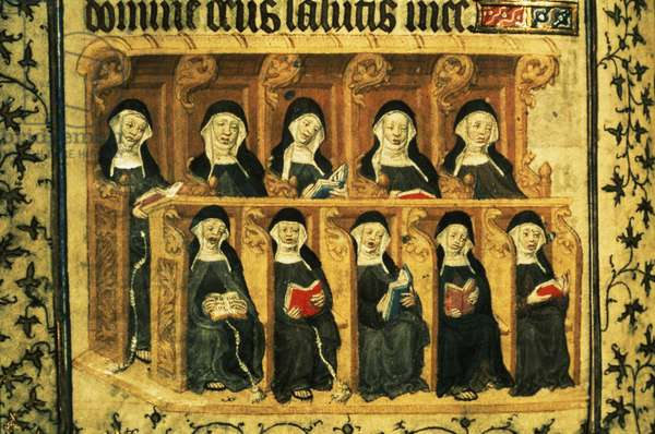 Cott Dom A XVII f.74v Nuns in a choir stall, from the Psalter of Henry VI, Paris, 1400-20 (vellum)