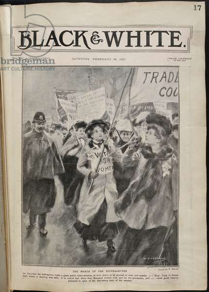 Front cover of 'Black & White'. The march of the suffragettes.