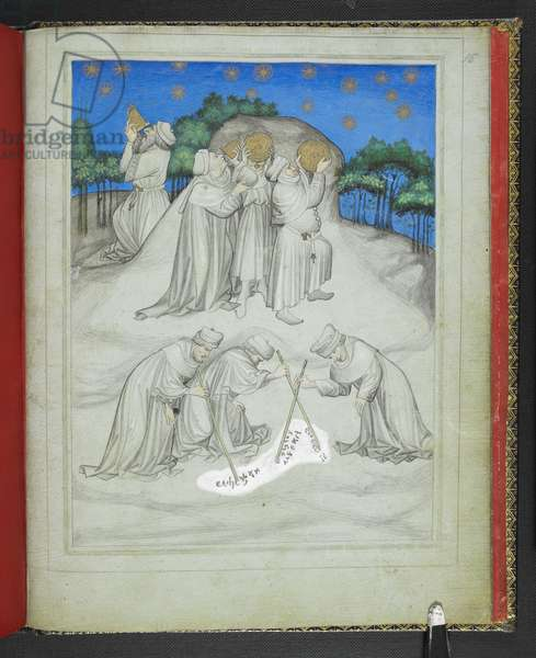 Ms Add 24189 fol.15 Astronomers on Mount Athos inspecting the heavens, from the 'Picture Book of Sir John Mandeville's Travels', c.1410 (vellum)