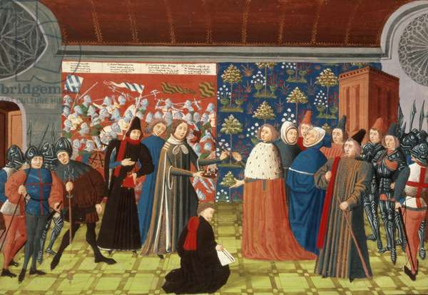Harl.4380 f.184v Richard II yields the crown to the Earl of Derby, from Froissart's Chronicle, Vol IV (vellum)