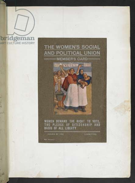 The women's social and political union members card, c.1906 (colour litho)