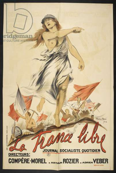 A poster celebrating the liberation of France. Flags of the various allied nations  can be seen.