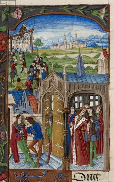 Royal 20 E. III, f.28 Hugh de Puisac's plot, illustration from the 'Chroniques de France ou de Saint Denis', Paris, 1487 (ink, colour & gold on vellum)