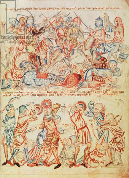 Add 47682 f.40 Peers and commoners fighting, from the 'Holkham Bible', c.1320-30 (vellum)