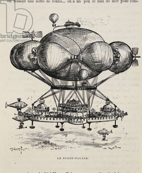 'Le nuage-palace'. A flying casino supported by air ballons and other air machines. A futuristic view.