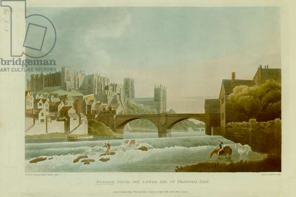 A figure fishing and another leading two horses across a river; a bridge in the middle ground; the city of Durham on the left; Durham Cathedral and Castle in the distance