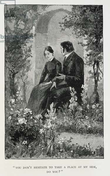 Jane Eyre and Mr. Rochester sitting in a garden