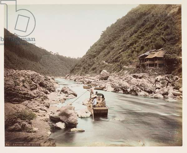 Rapids near Kyoto, from A Book of Coloured Photographs of views in Japan, 1895 (coloured photo)