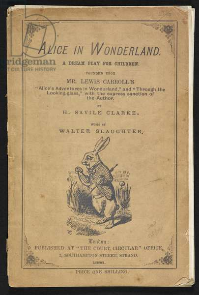 """Title page of Alice in Wonderland, A dream play for children in two acts. Founded upon Mr. Lewis Carroll's """"Alice's adventures in wonderland"""" and """"Through the looking-glass"""" with the express sanction of the author, 1886 (print)"""