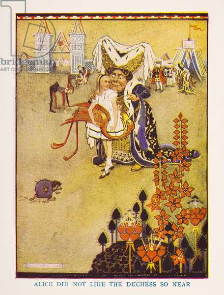 Alice did not like the Duchess so near, The nursery Alice in Wonderland / retold for the nursery by Irene Pearl ; the pictures by Gwynedd Hudson, 1938 (colour litho)