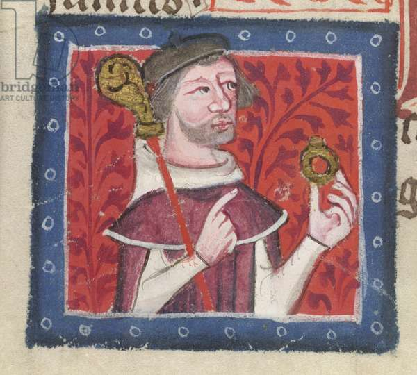 Cotton Nero D VII fol.87v Henry of Blois, from the 'Golden Book of St. Albans' by Thomas Walsingham, 1380 (vellum)