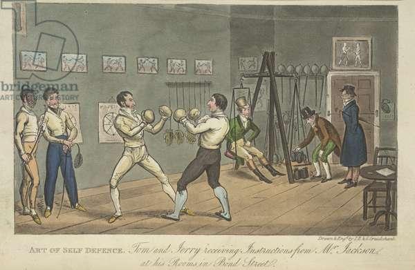 Two men boxing, 'Life in London, etc.', by Pierce Egan, 1823 (colour litho)