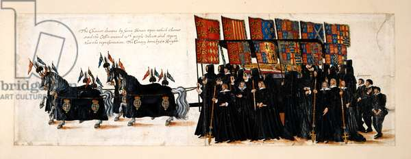 The funeral procession of Queen Elizabeth I to Westminster Abbey, 28 April 1603. The chariot is drawn by four horses. The coffin is covered in purple velvet on which lies an effigy of the Queen. The canopy is born by six knights, with Gentlemen Pensioners and footmen.