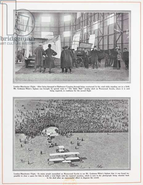 London-Manchester Flight.  So many people assembled on Wormwood Scrubs to see Mr Grahame-White's biplane that it was found impossible to cleear a space for him to make a trail flight with his repaired machine, which is seen in the photograph being wheeled back to the shed after an unsuccessul effort to disperse the crowd.