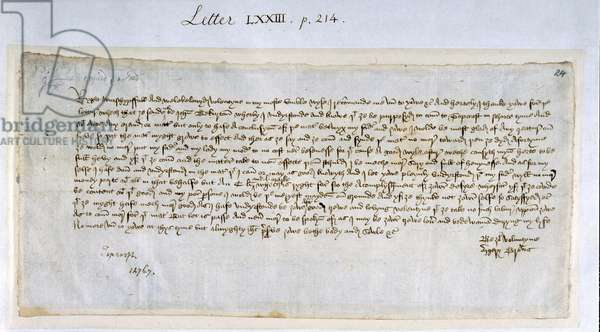 Valentine letter from Margery Brews to John Paston III, February 1477 (pen & ink on paper)