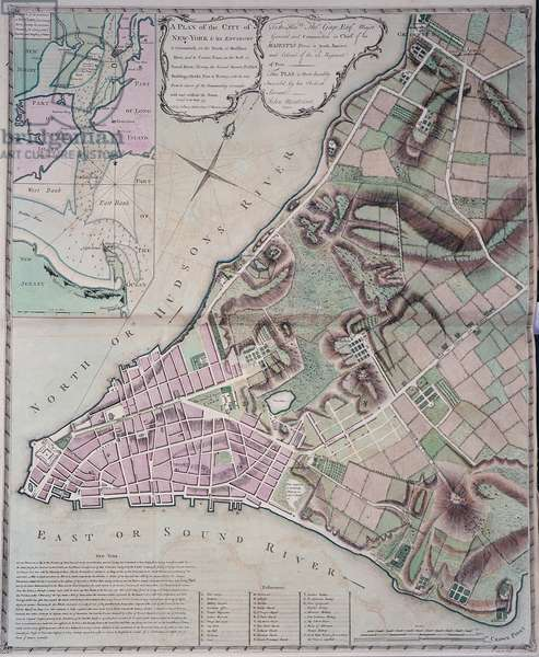 Plan of the city of New York and its environs to Greenwich, surveyed 1775, printed in 'The North American Atlas', 1777 (colour litho)