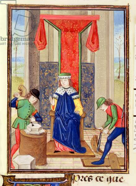 Roy 15 EII f.265 Master, carpenter and stonemason, from 'Des Proprietez des Choses' by Bartolomeus Anglicus, 1482 (vellum)