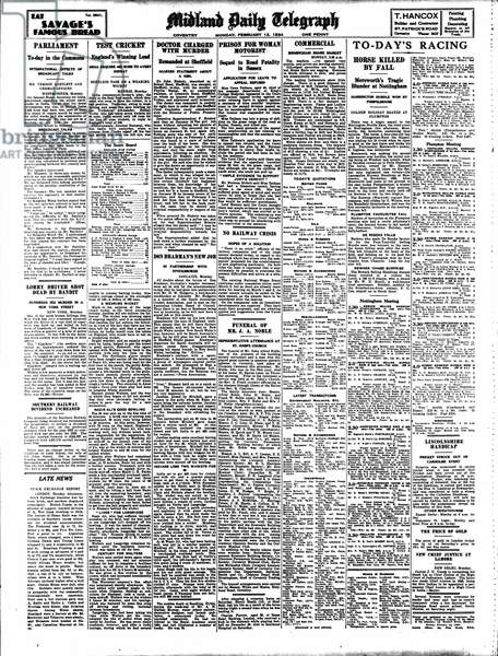 Front Page of the Midland Daily Telegraph, February 12th, 1934 (print)