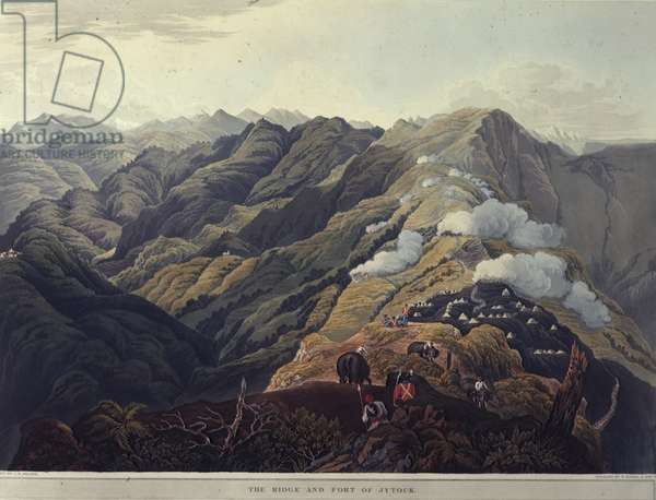 The Ridge and Fort of Jytock, from 'Views of the the Himala Mountains', printed by Rodwell & Martin, 1820 (colour litho)