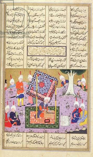 Add 15531 f.445v A Board Game, illustration from the 'Shahnama' (Book of Kings), by Abu'l-Qasim Manur Firdawsi (c.934-c.1020), transcribed 1553
