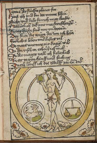 A naked female figure. A bull representing Taurus and a pair scales representing Libra.