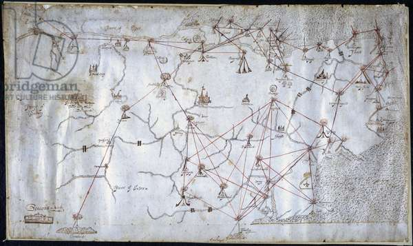 Beacons in Kent, 1585 (w/c on paper)