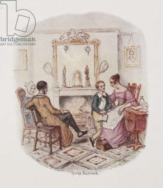 "Oliver Twist and his family """" The Fireside Plate."