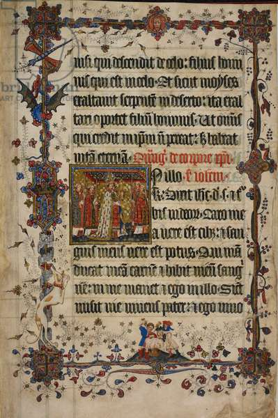 Harley 7026, f.13 The Feast of Corpus Christi, from the Lovel Lectionary, before 1408 (vellum)