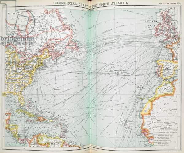 Commercial chart of the North Atlantic.