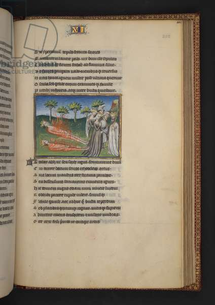 Burney 257, f. 202, Polyneices and Eteocles on the funeral pyre, from Thebais, by Publius Papinius Statius, c.1405 (vellum)