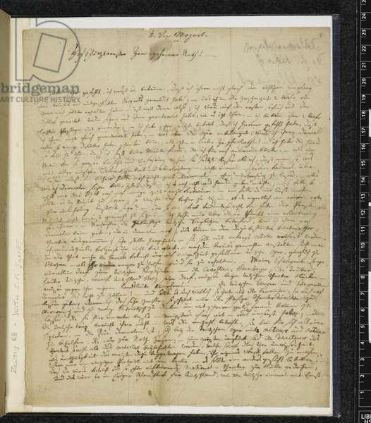 Zweig 68 f.1 Letter to Anton Klein, 21st May 1785 (ink on paper)