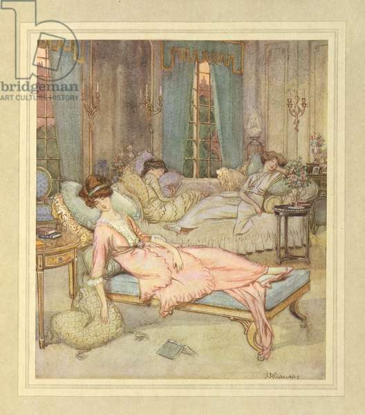 Three women sleeping, from 'The Admirable Crichton' by J. M. Barrie, 1914 (colour litho)