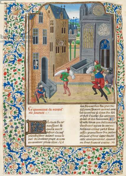 Add. 35323 f.122v Wrapped bodies being carried into a building, illustration from 'The Decameron' (vellum)