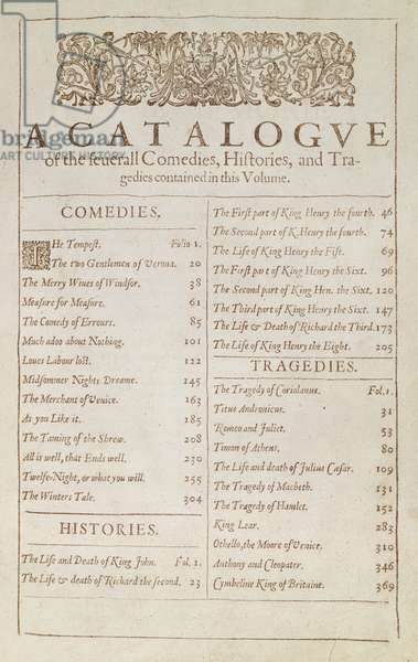 G.11631.B.L. Catalogue page from 'Mr. William Shakespeare's Comedies, Histories and Tragedies', edited by J. Heminge and H. Condell, 1623 (print)