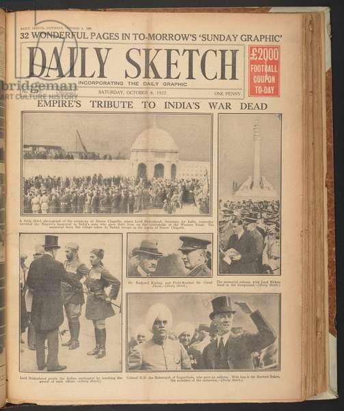 Daily Sketch, showing Rudyard Kipling at Neuve Chapelle, October 8, 1927 (newsprint)