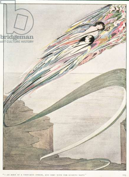 """""""I am born of a thousand storms, and grey with rushing rains"""", illustration to 'All is Spirit and Part of Me' by L. D'O. Walters"""