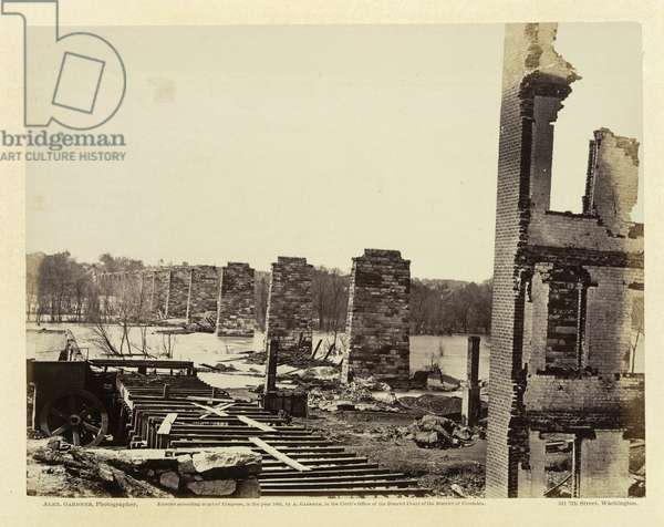 Ruins of Petersburg and Richmond railroad bridge across the James, Virginia, from 'Gardner's Photographic sketchbook of the War' published Washington, 1865 (b/w photo)
