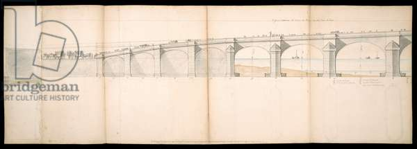 Designs of the Projected Bridge on the River Thames in London, BL Maps C.49.e.76, 1736 (pen & ink with w/c on paper)