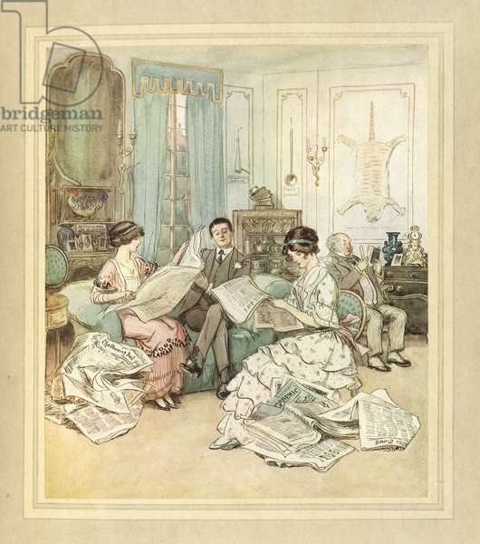 Reading newspapers, from 'The Admirable Crichton' by J. M. Barrie, 1914 (colour litho)