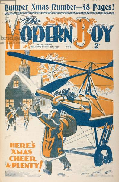 'Here's Christmas cheer a plenty'. Father Christmas arriving by helicopter.The Modern Boy12 December 1931