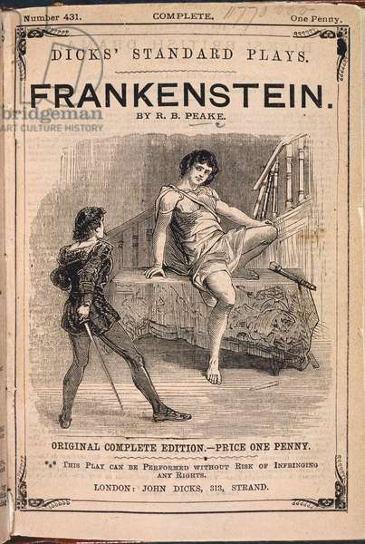 Advertisement for the play, 'Presumption; or The Fate of Frankenstein' by Richard Brinsley Peake, based on the novel, 'Frankenstein; or, The Modern Prometheus , by Mary Shelley.