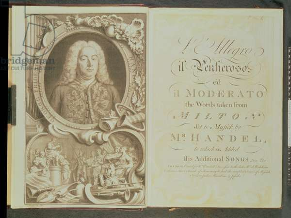 Frontispiece to 'L'Allegro il Penseroso', ed. il Moderato, the words taken from Milton, set to music by Mr Handel, to which is added his additional songs