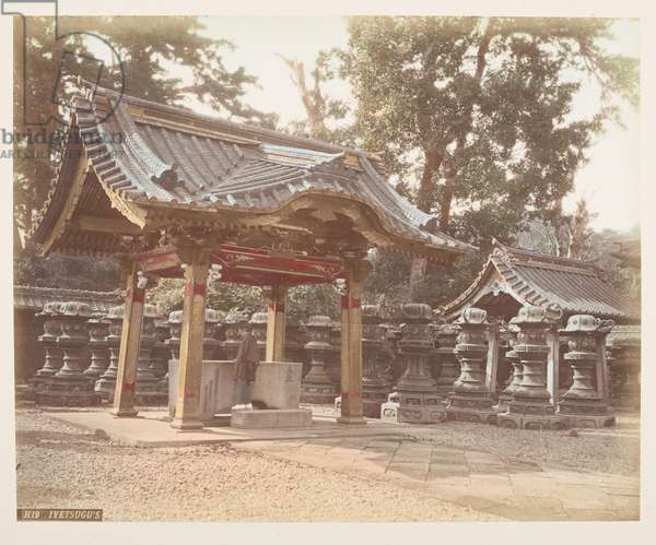 Iyetsugu's Tomb, from A Book of Coloured Photographs of views in Japan, 1895 (coloured photo)