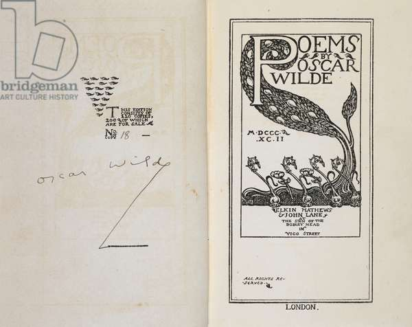 Signature of Oscar Wilde and an illustrated title page.