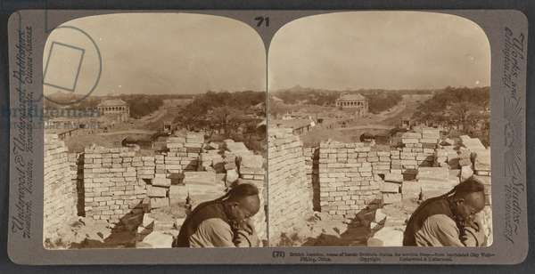 British Legation, scene of heroic fortitude during the terrible siege, from barricaded city wall, Peking, China, c.1900 (stereoscopic photo)