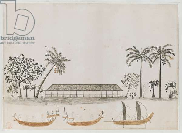 Add. 15508, f.14, no.12  A scene in Tahiti with two war canoes and a sailing canoe, Captain James Cook's First Voyage, 1768-70 (w/c on paper)